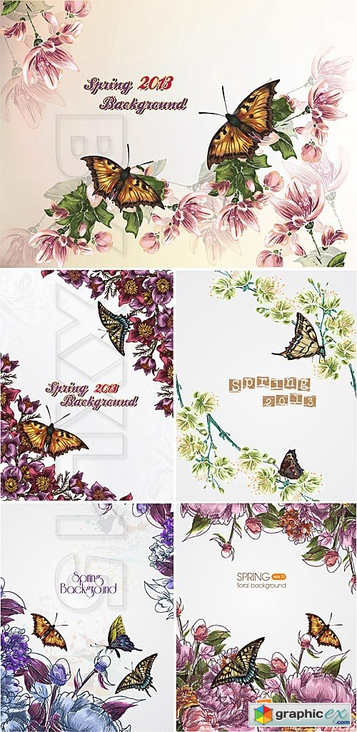 Vector Spring floral backgrounds