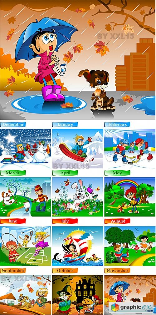 Vector Children's fun calendar