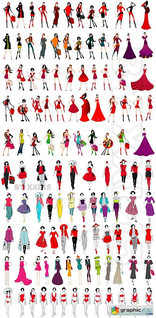 Vector Set of fashion girls
