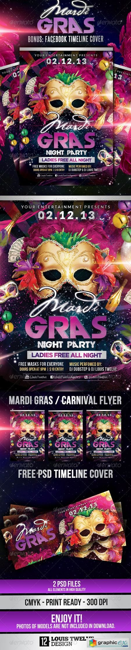 Mardi Gras / Carnival Party | Flyer + Fb Cover 3780329