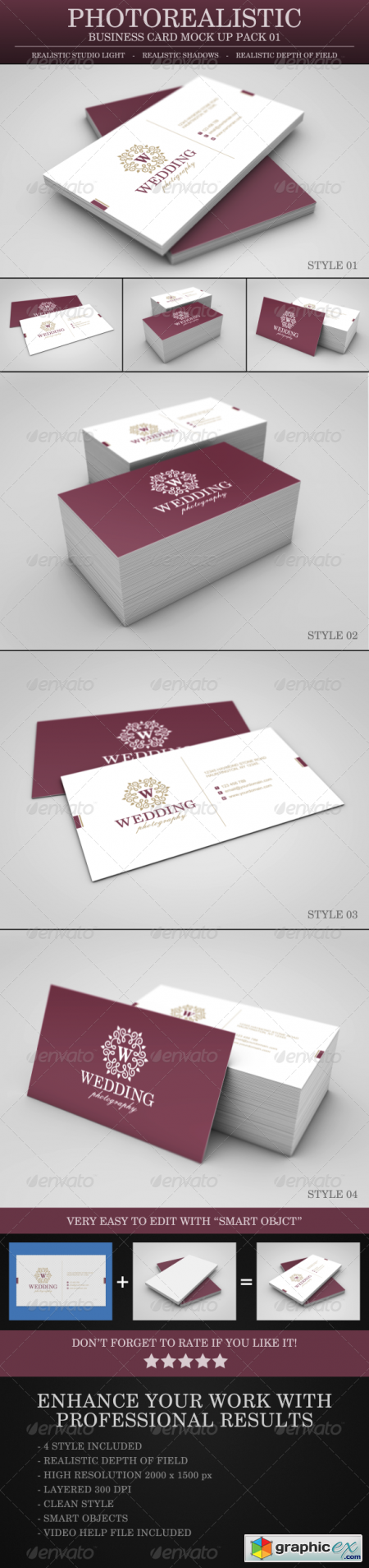 Photo Realistic Business Card Mock Up Pack - 01 3742572