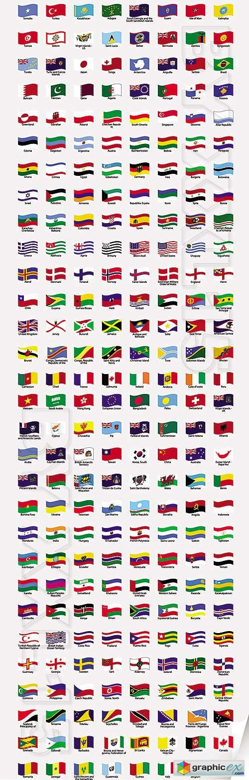 Vector Wavy world flags