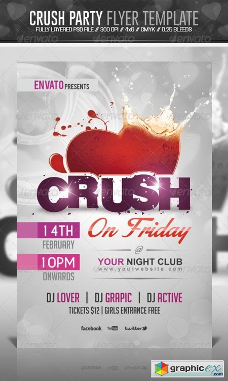 Crush Valentine Party Flyer Template 6532639 187 Free