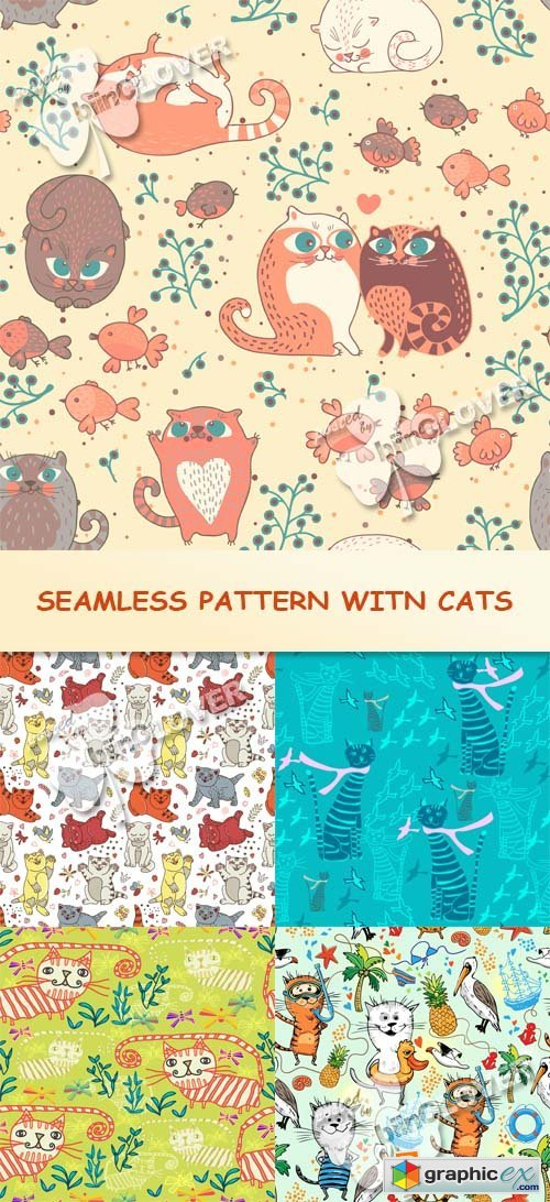 Vector Seamless pattern with cats 0561