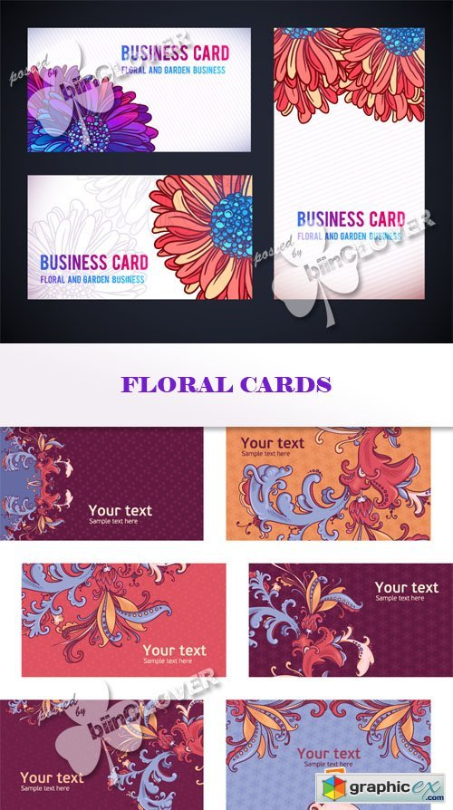 Vector Floral cards 0567