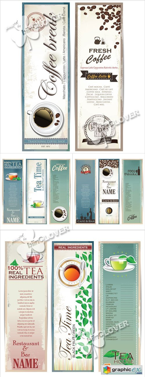 Vector Coffee and tea banners 0567