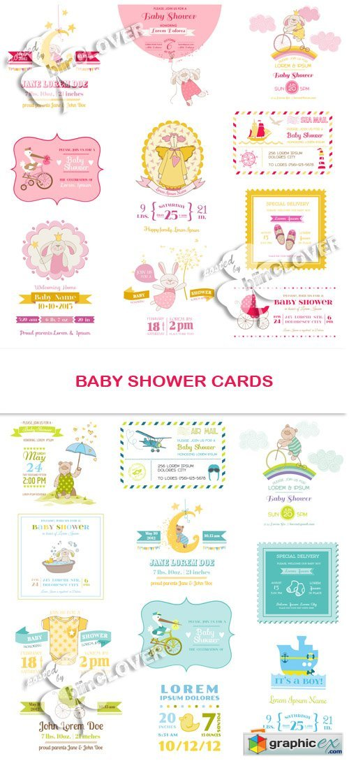 Vector Baby shower cards 0567