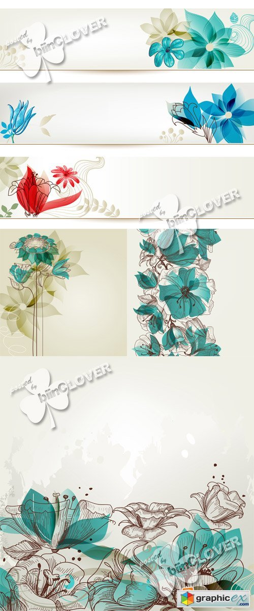 Vector Abstract floral backgrounds 0567