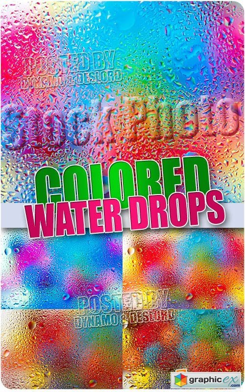 Colored water drops - UHQ Stock Photo