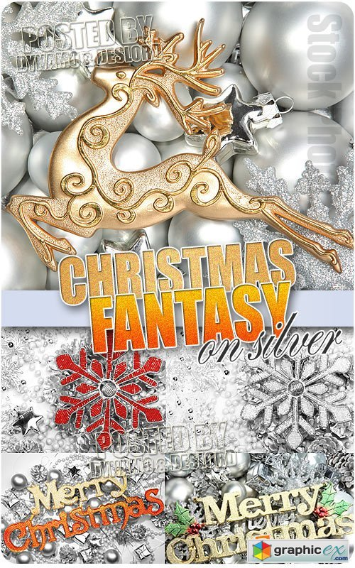 Vector Christmas Fantasy on Silver - UHQ Stock Photo