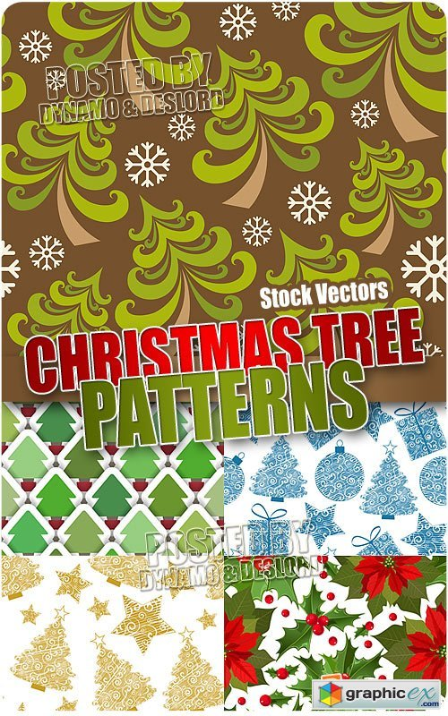 Vector Xmas tree patterns - Stock Vectors