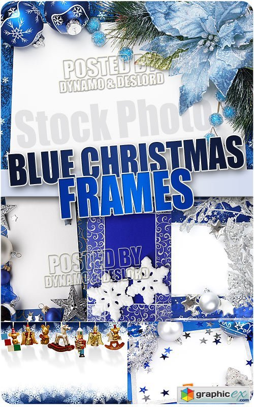 Christmas Blue Frames - UHQ Stock Photo