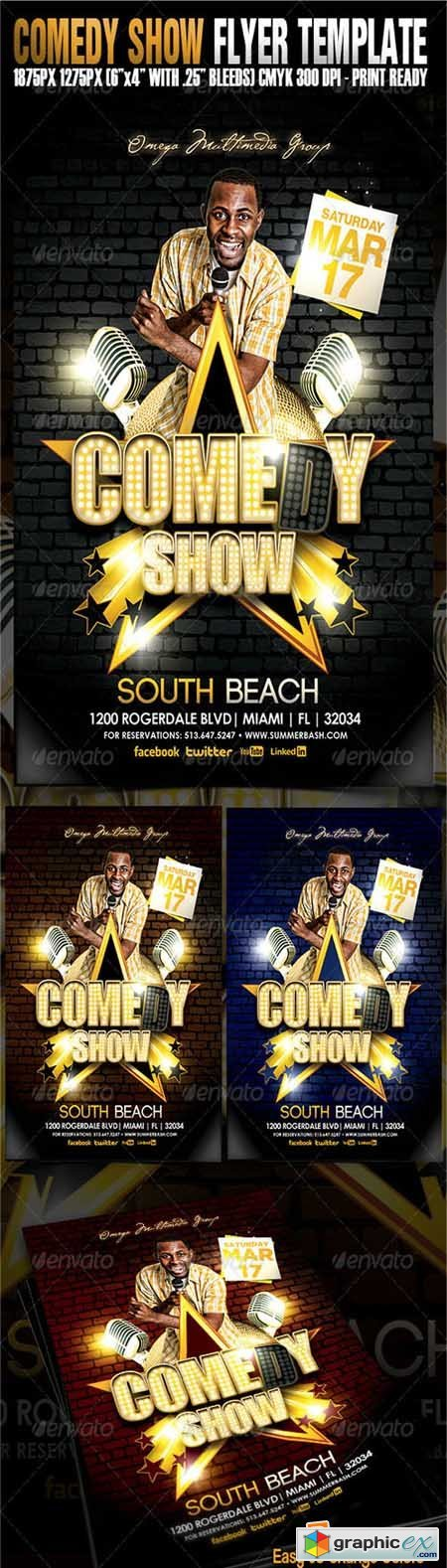 Comedy Show Flyer Template   Free Download Vector Stock