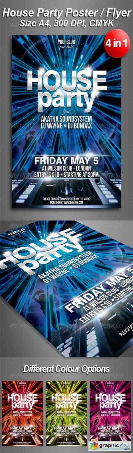 A4 House Party Club Flyer 4 in 1 4434986