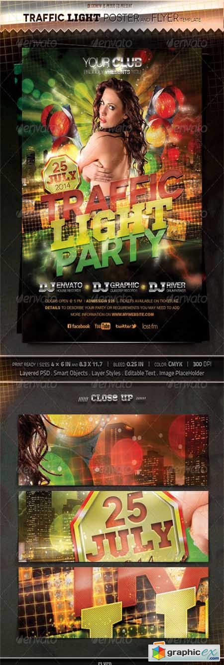 Traffic Light Party Flyer and Poster 4448646