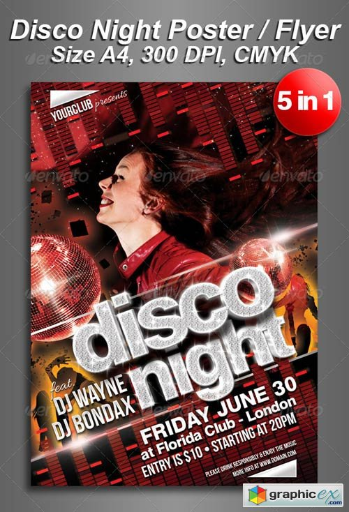 A4 5in1 Disco Night Club Flyer