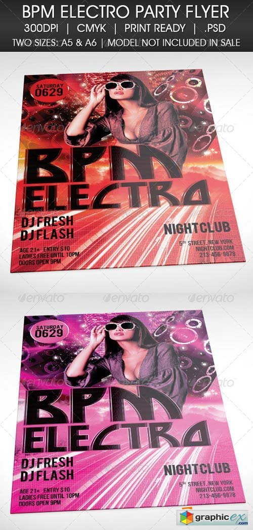 Electro BPM House Techno Party Flyer Template
