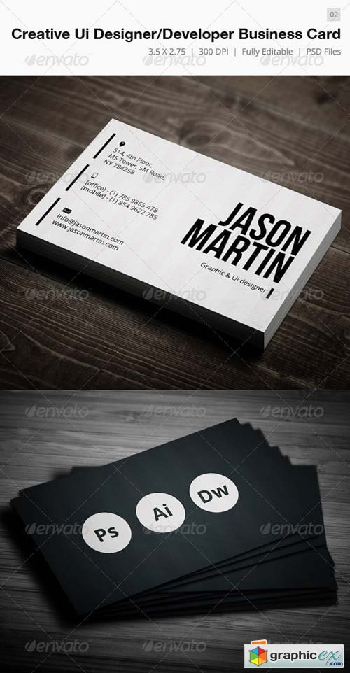 Creative Designer-Developer Business Card - 02 Template