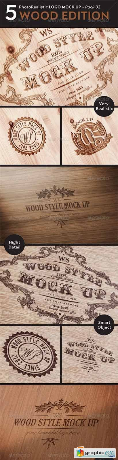 5 Realistic Logo Mock Up - WOOD Edition 2903477