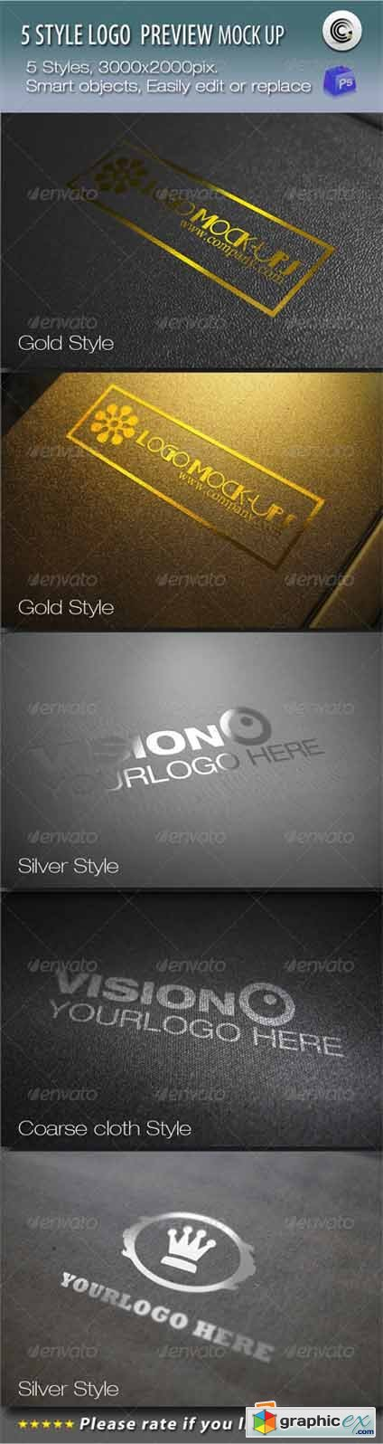 5 Styles Logo Preview Mock-ups 683452