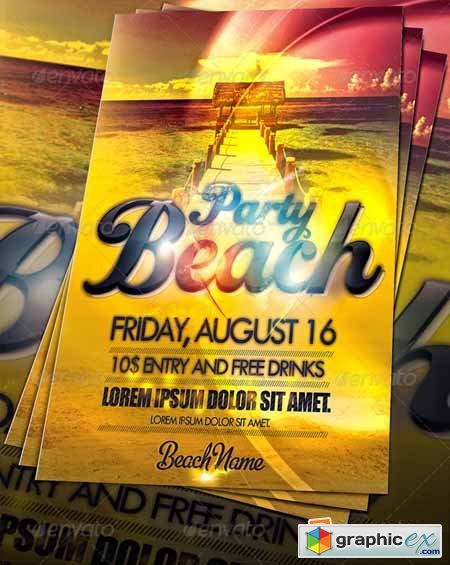 Amazing Beach Party Flyer 255637