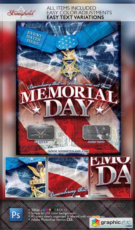 Memorial Day Patriotic Flyer Template 2165085