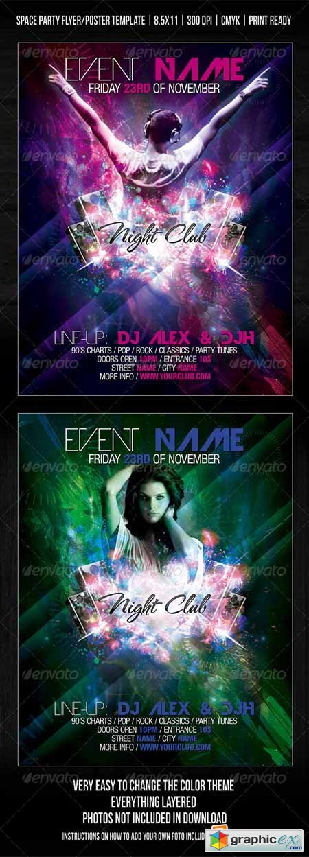 Night Club Space Party Flyer/Poster Template V2 257490