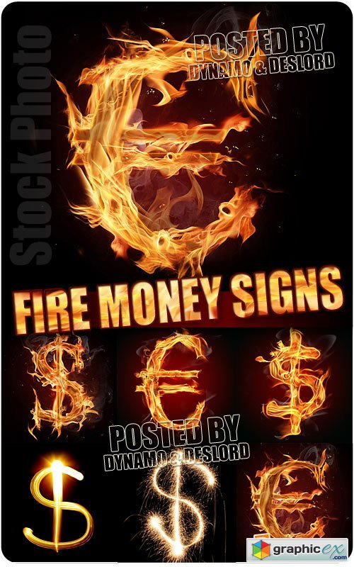 Money fire signs - UHQ Stock Photo