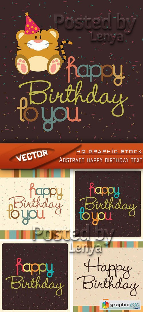 Stock Vector - Abstract happy birthday text
