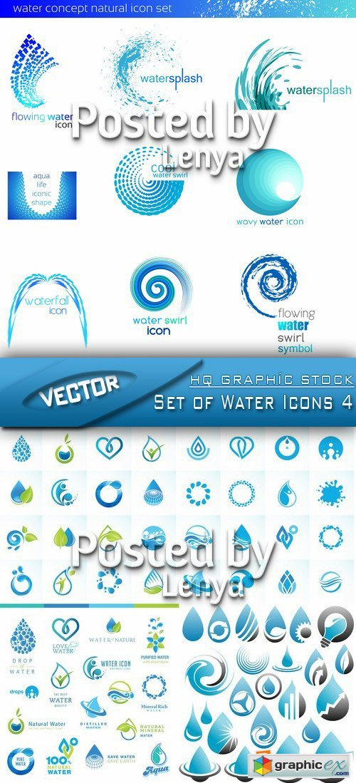 Stock Vector - Set of Water Icons 4