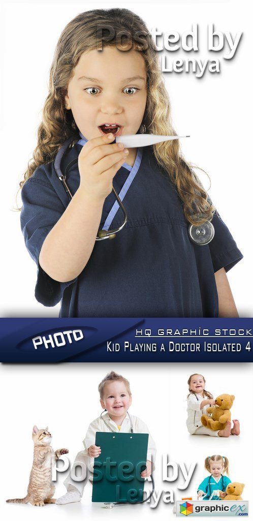 Stock Photo - Kid Playing a Doctor Isolated 4