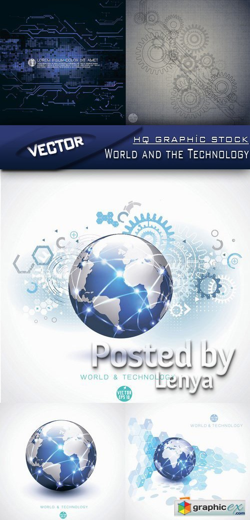 Stock Vector - World and the Technology