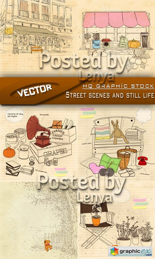 Stock Vector - Streett scenes and still life