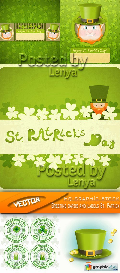 Stock Vector - Greeting cards and labels St. Patrick