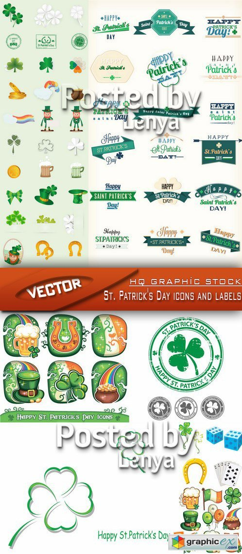 Stock Vector - St. Patrick's Day icons and labels