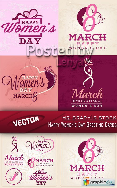 Stock Vector - Happy Women's Day Greeting Cards