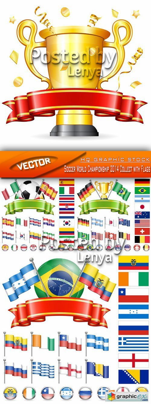 Stock Vector - Soccer World Championship 2014 Collect with Flags