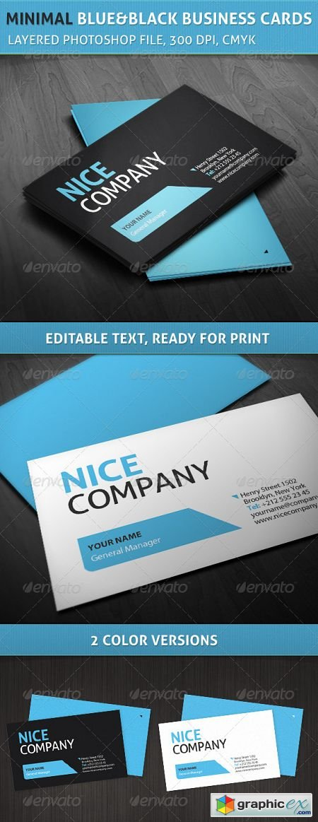 Professional Minimal Blue and Black Business Cards 3561351