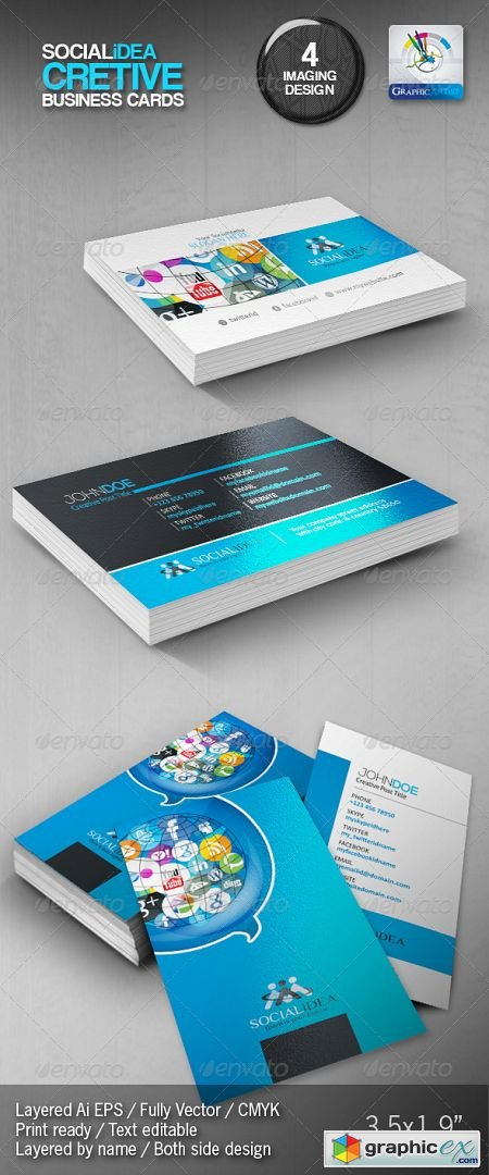 Socialidea Creative Social Media Business Cards 3555279