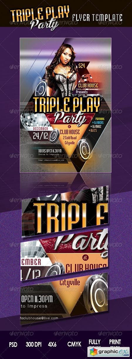 Triple Play Party Flyer 3553657