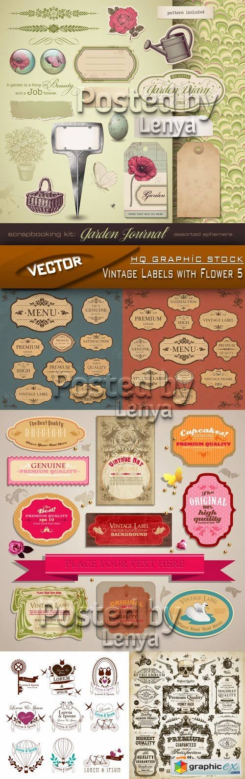 Stock Vector - Vintage Labels with Flower 5