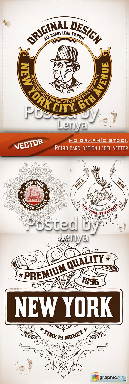 Stock vector - Retro card design label vector