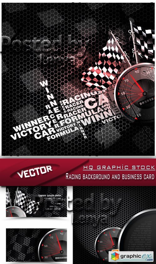 Stock Vector - Racing background and business card