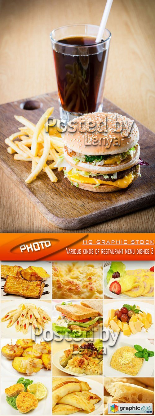 Stock Photo - Various kinds of restaurant menu dishes 3