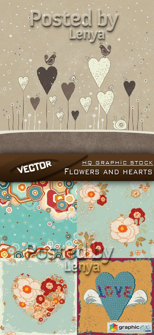 Stock Vector - Flowers and hearts