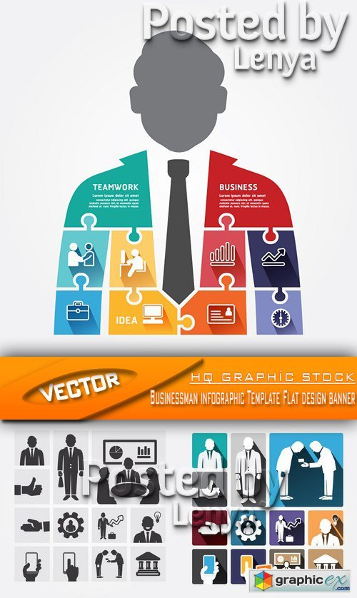 Stock Vector - Businessman infographic Template Flat design banner