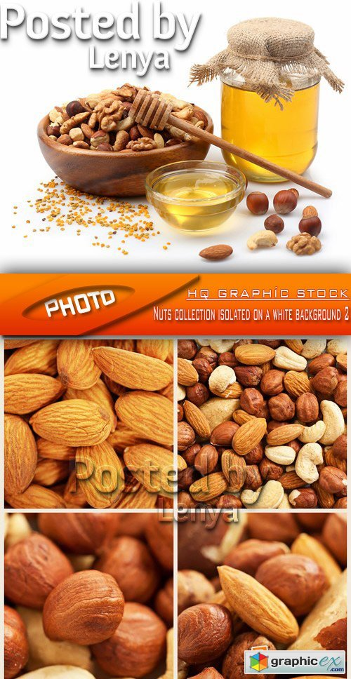 Stock Photo - Nuts collection isolated on a white background 2