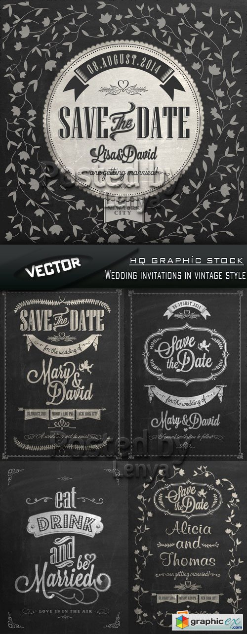 Stock Vector - Wedding invitations in vintage style