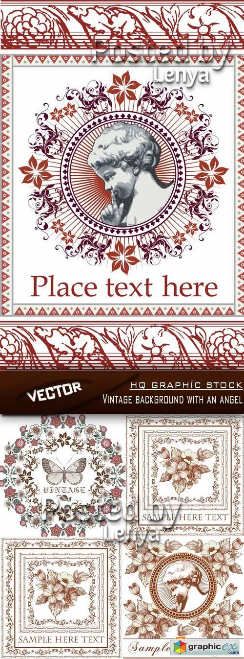Stock Vector - Vintage background with an angel