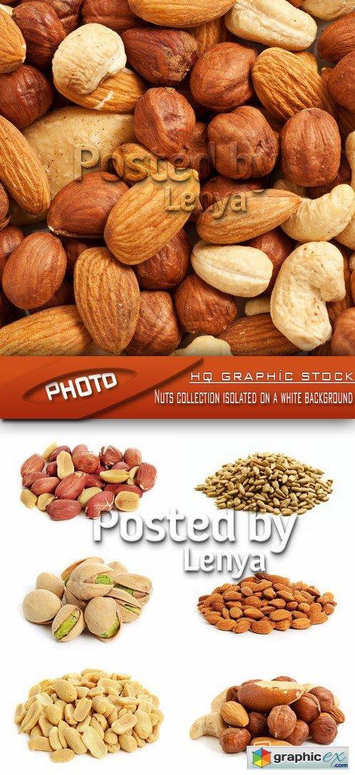 Stock Photo - Nuts collection isolated on a white background